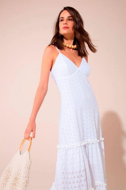 Vestido Longo em Laise Ariele - Branco