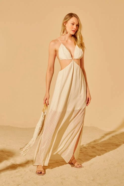 Vestido Longo Recortes Lisa - Areia