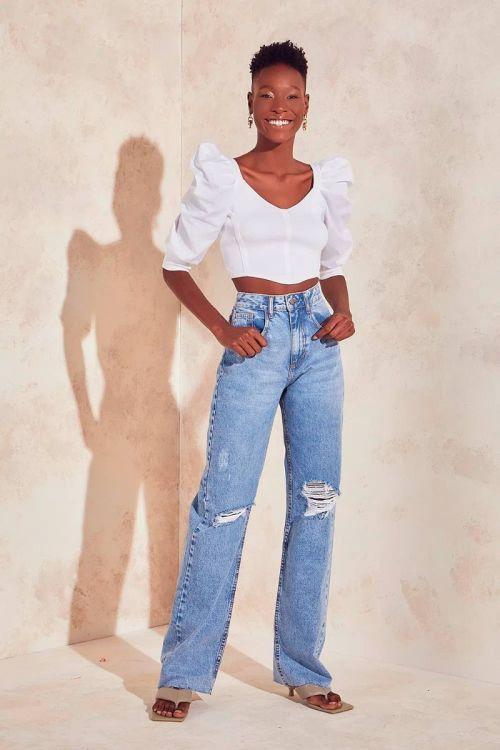 Calça Jeans Cós Alto Poliana - Jeans Claro