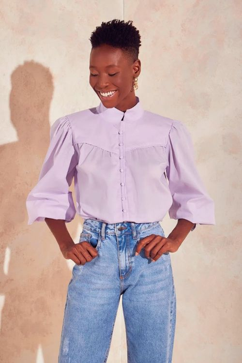 Camisa Botões e Mangas Bufantes Ashley - Lilac