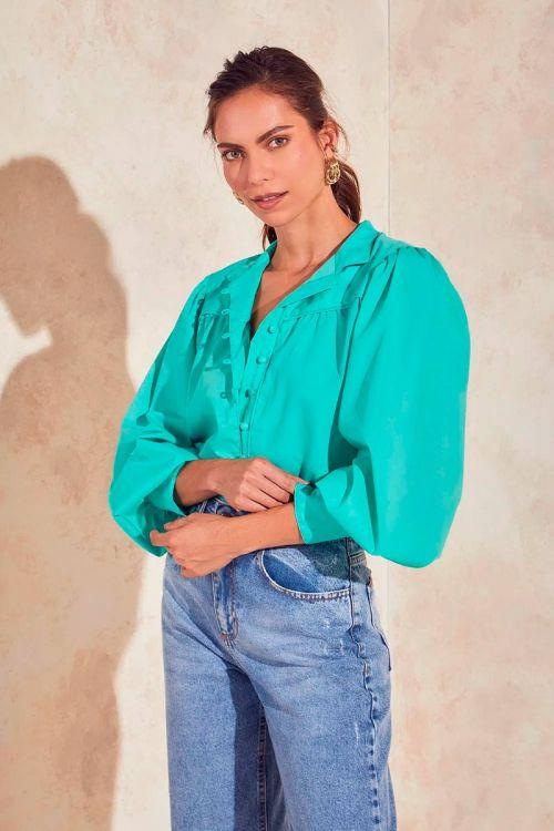 Camisa Botões e Mangas Bufantes Ashley - Esmeralda