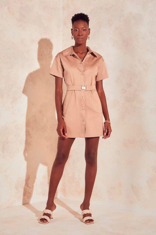 Vestido Curto Gola social Jade - Bege Safari