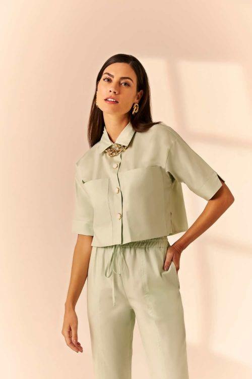 Camisa Cropped em Tricoline Rose - Verde Chá