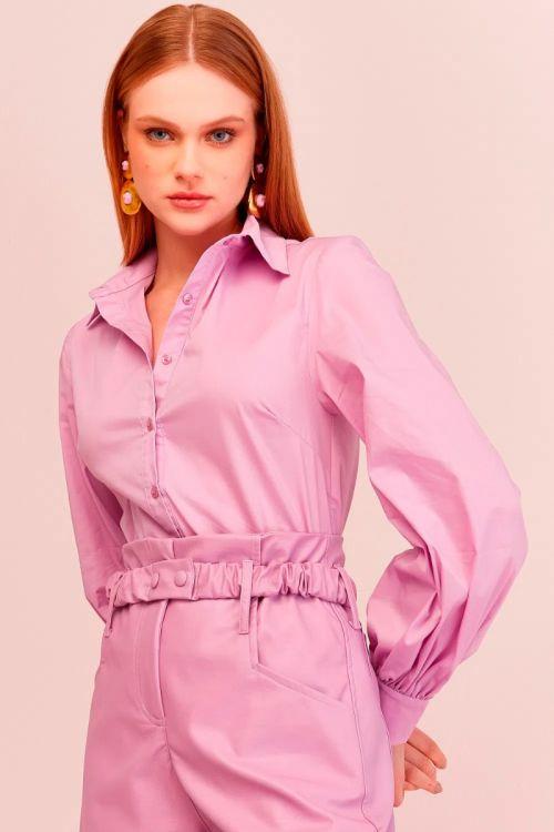 Camisa Manga Bufante Amalia Sheer Lilac - Le Blog