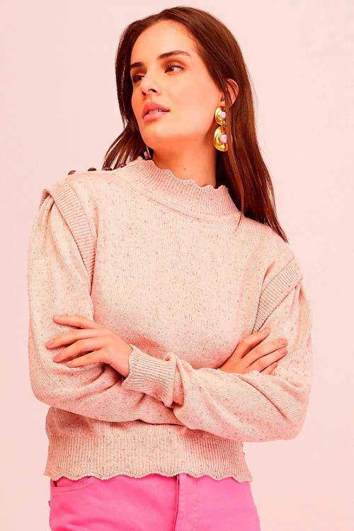 Blusa Tricot Detalhe Botões Ursula Rosa Essencia - Le Blog