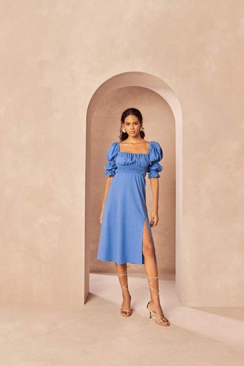 Vestido Midi Manga Bufante Ivy Ibiza Blue - Le Blog