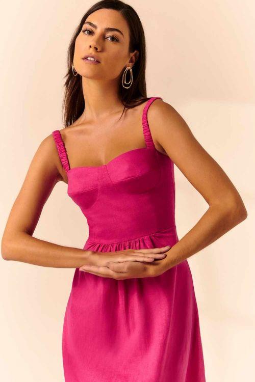 Vestido Midi Corselet Melina - Pink Classic