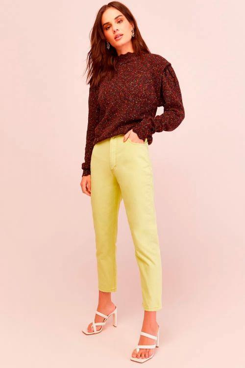 Calça Sarja Skinny Celine Golden Lime - Le Blog