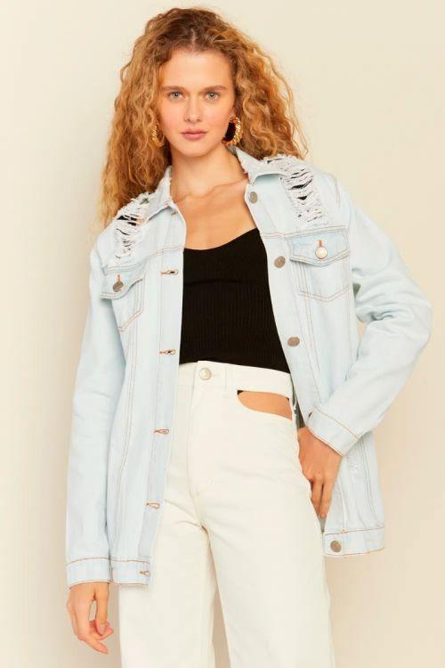 Jaqueta Alongada Jeans Anny Light Blue - Le Blog