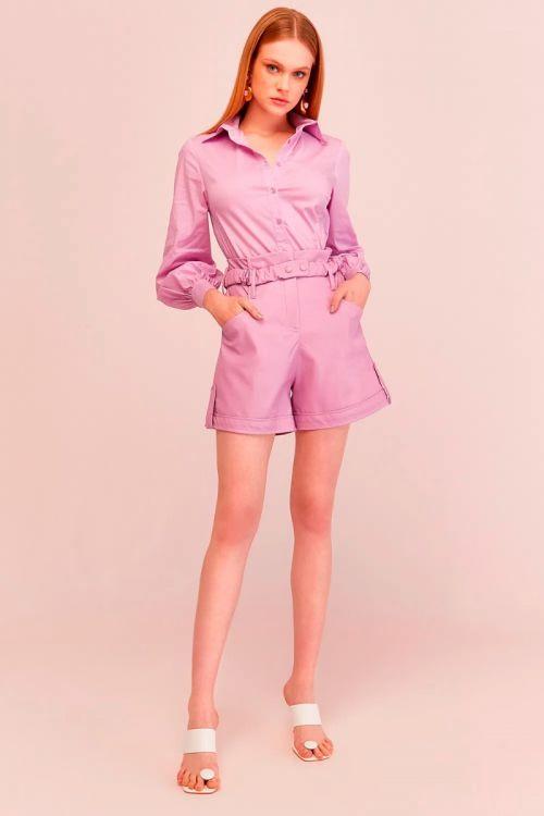 Shorts Alfaitaria Toque de Couro Cristal Lilac - Le Blog