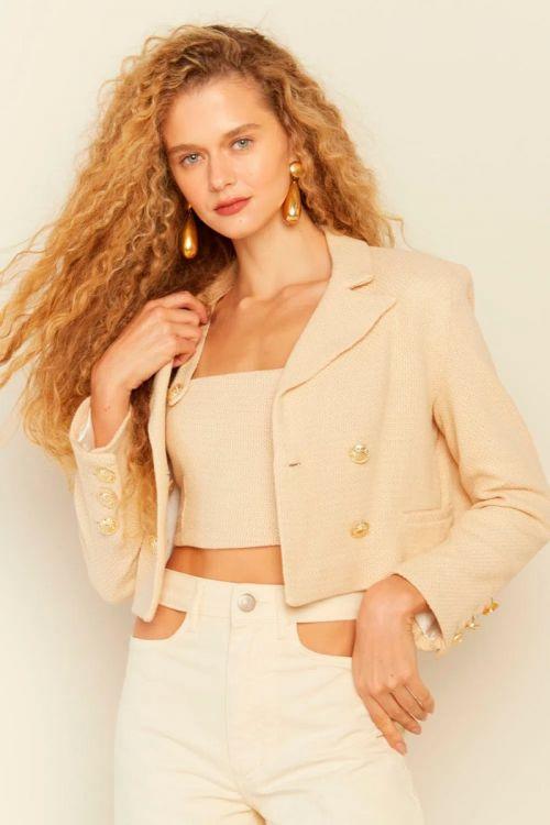 Top Cropped Tweed Sofia Bege Creme - Le Blog