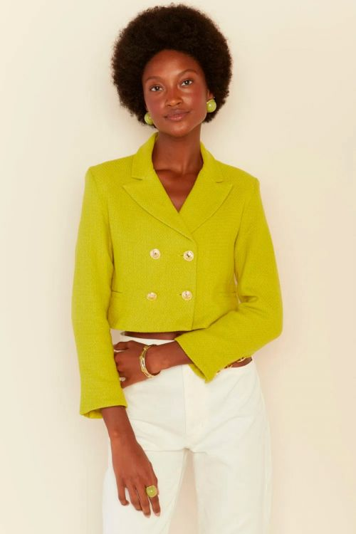 Blazer Cropped Tweed Sofia Verde Lima - Le Blog