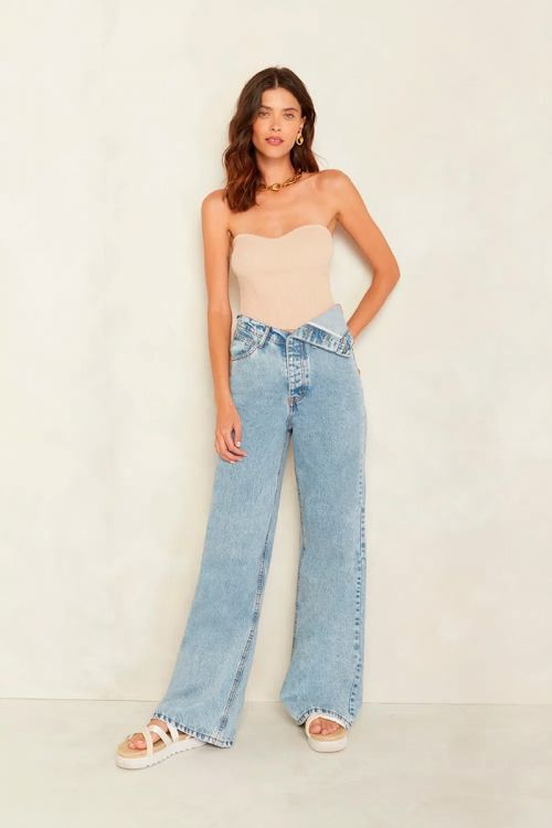 Calça Cós Virado Manu Jeans Claro - Le Blog