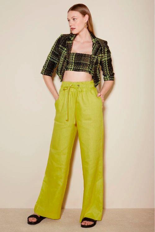 Calça Wide Linho Liliane Golden Lime - Le Blog