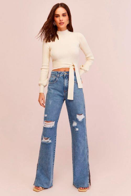 Calça Jeans Fenda Lateral Liah Classic Blue - Le Blog