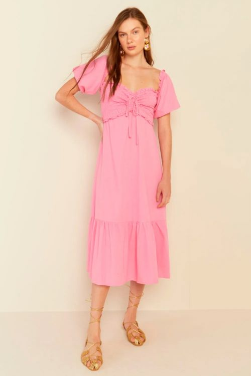 Vestido Midi Mangas Bufantes Penélope Rosa Pink - Le Blog