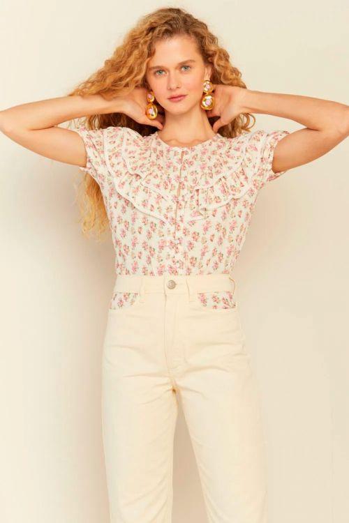 Camisa Babados e Mini Renda Lili Off White - Le Blog