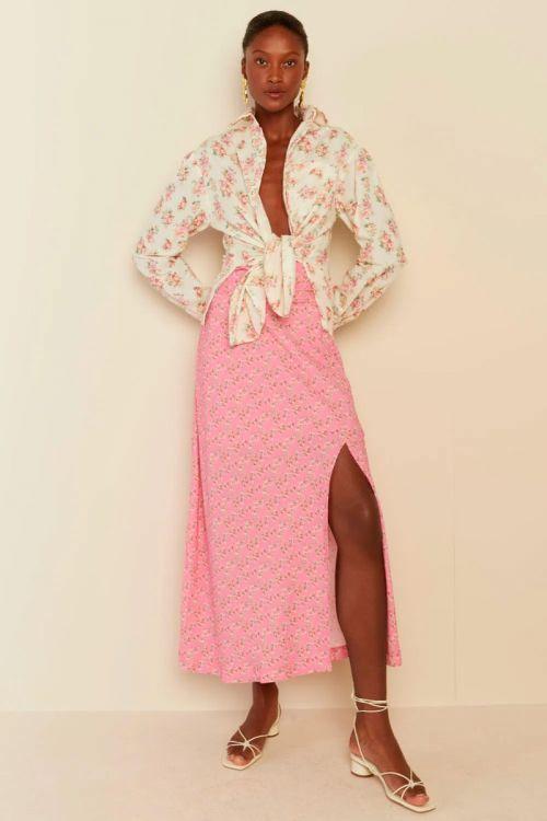 Saia Midi Fenda Lili Rosa Pink - Le Blog