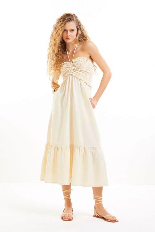 Vestido Midi Busto Lastex Leticia Bege Mineral - Le Blog