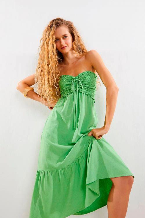 Vestido Midi Busto Lastex Leticia Verde Folha - Le Blog