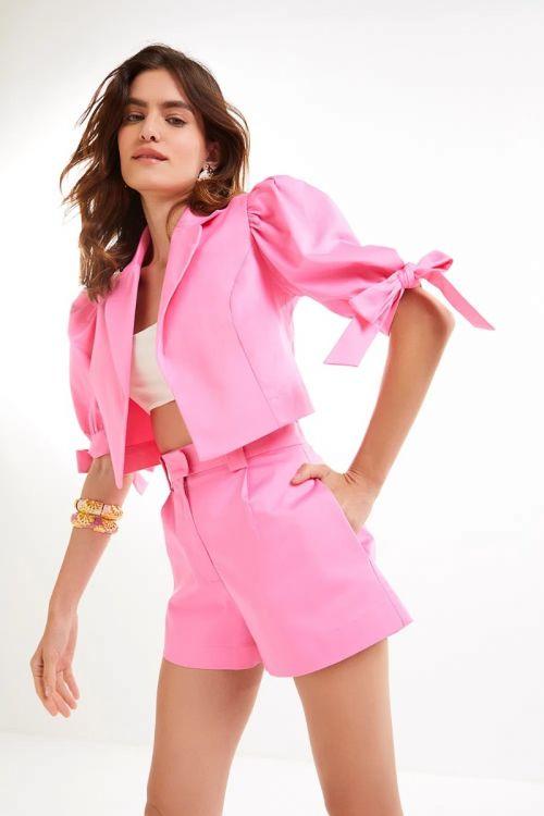 Casaqueto Cropped Ellie Rosa Pink - Le Blog
