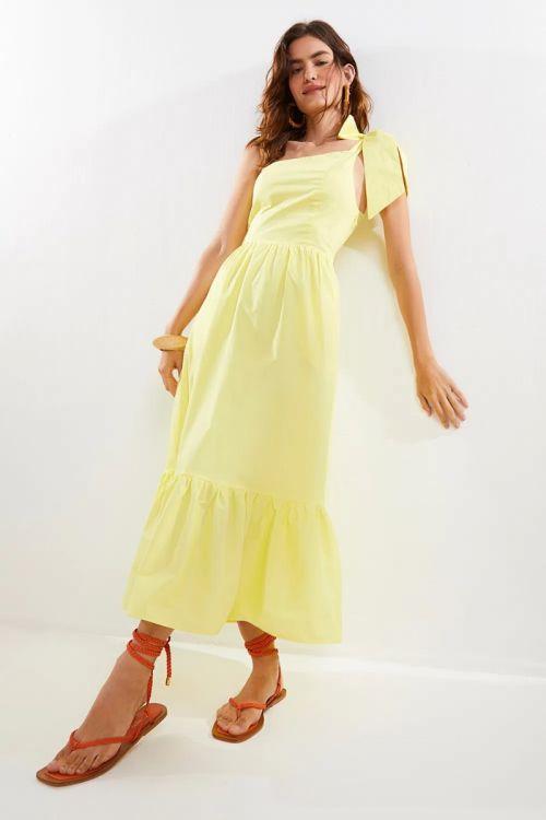 Vestido Midi Ombro Só Aisha Amarelo Sun - Le Blog