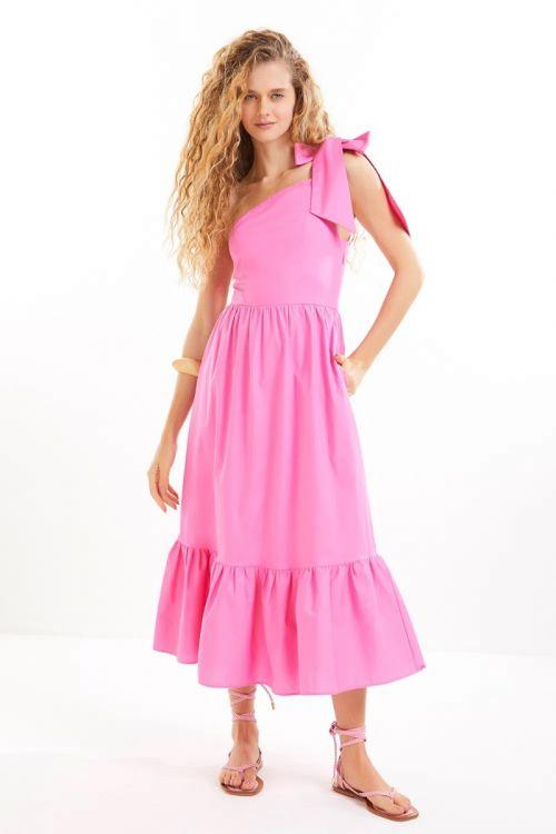Vestido Midi Ombro Só Aisha Rosa Pink - Le Blog