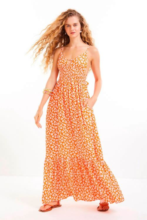 Vestido Longo Amarração Kawana Laranja Citrico - Le Blog