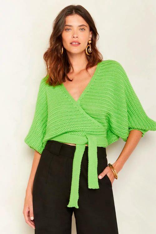 Blusa Tricot Transpassada Ingrid Verde Nature - Le Blog