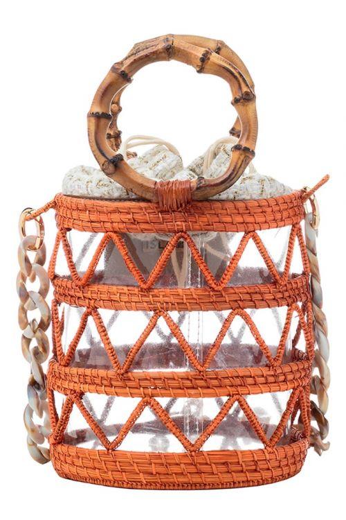 Bolsa Femina Balde com Alça de Bambu