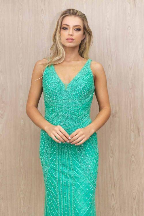 Vestido Longo Bordado estilo Arabesco - Verde