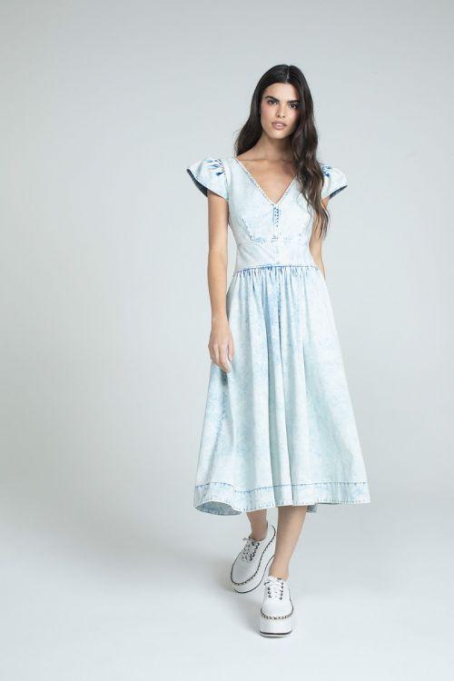Vestido Midi Sable Jeans Claro - Andrea Bogosian