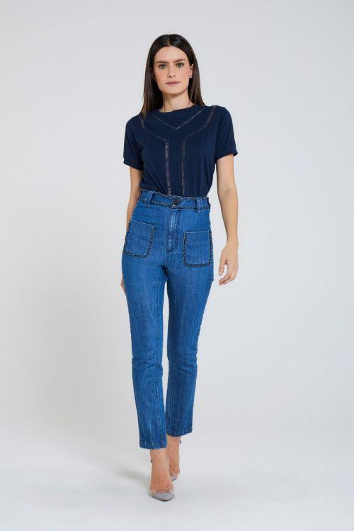 Calça Reta Detalhe Correntes Village Jeans Azul - Andrea Bogosian
