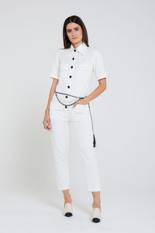 Macacão Reto Vyna Couture Off White - Andrea Bogosian