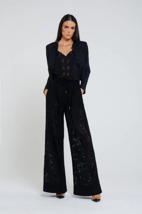 Calça Pantalona em Renda Vian Couture Preta - Andrea Bogosian