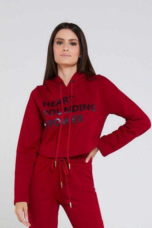 Blusa Moleton com Capuz Verton Vermelha - Andrea Bogosian
