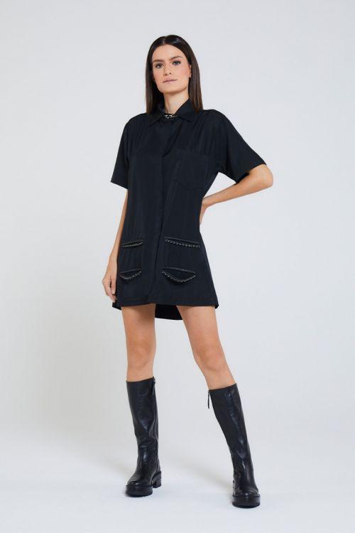 Vestido curto Correntes Virtez Preto - Andrea Bogosian