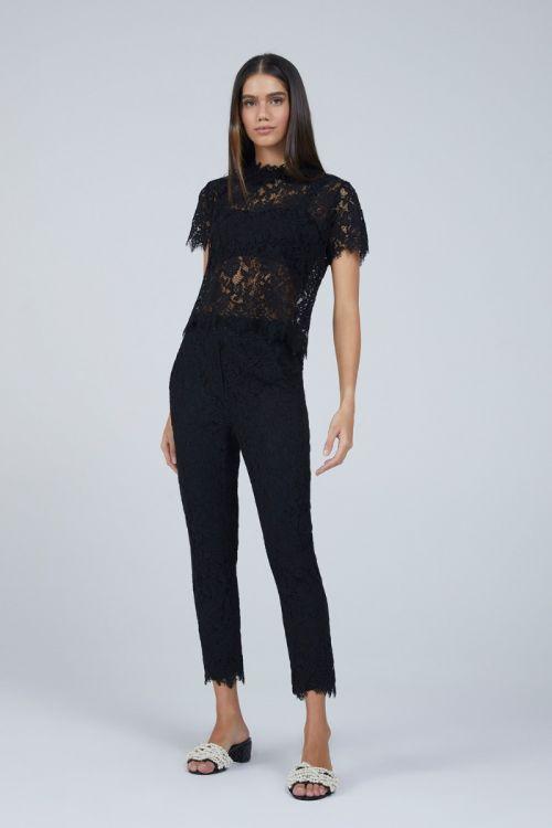 Camiseta em Renda com Cropped Ananda Couture Preta - Andrea Bogosian