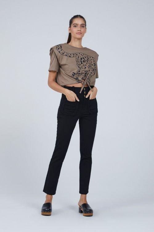 Camiseta Leopardo Amarração Audren Marron - Andrea Bogosian