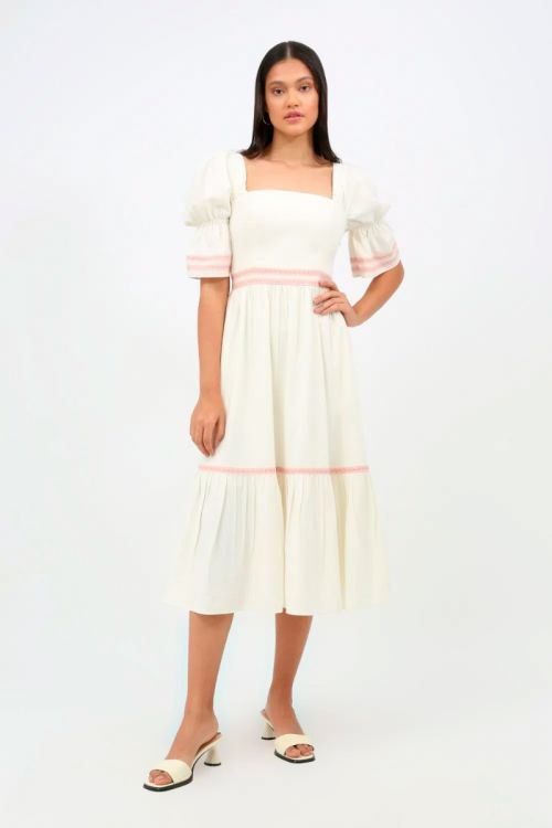Vestido Midi Linho Lírio - Off White