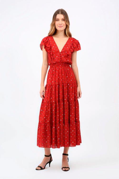 Vestido Midi Floral Andressa - Vermelho