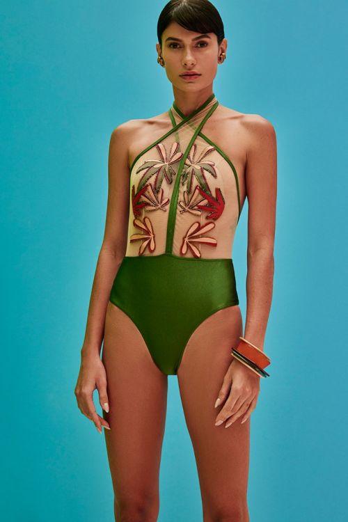 Body Frente Única Tule Bordado Modernista Verde - PatBo