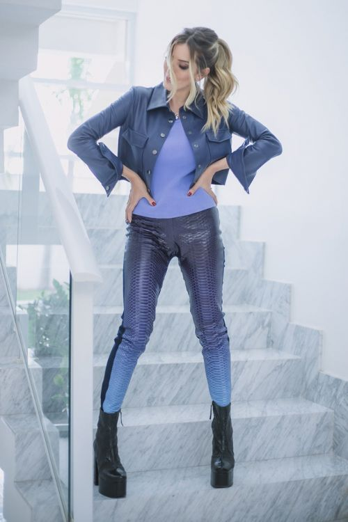 Calça Python e Helanca Degradê Deg Blue Lilás - Juliana Sanmartin