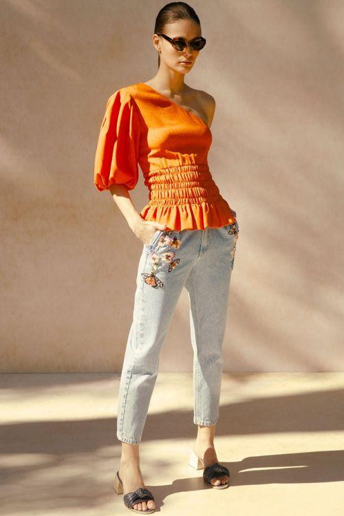 Calça Jeans com Bordados e Apliques - PatBo
