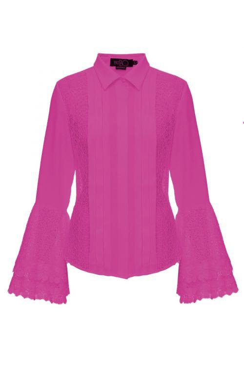 Camisa Renda Manga Ampla Rosa - PatBo