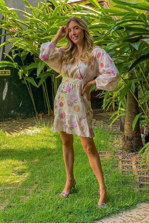 Vestido Curto Linho Paineira Floral   - Carol Bassi