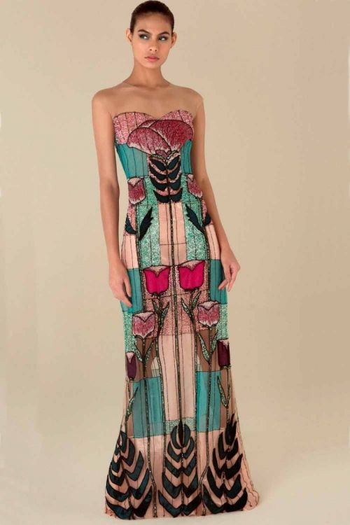 Vestido Longo sem Manga Bordado Tulipas - Fabiana Milazzo