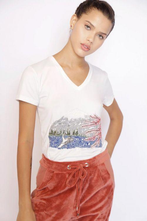 T-Shirt Baby Look Monte Fuji Off White - Fabiana Milazzo