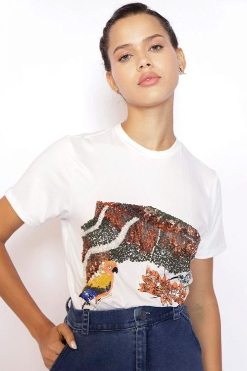 T-Shirt Bordada Monte Roraima Off White - Fabiana Milazzo