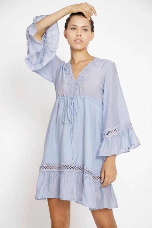 Vestido Midi Babadinhos com Decote V Azul Moon - Fabiana Milazzo